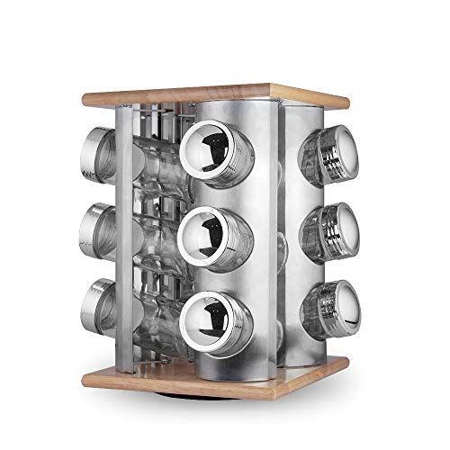 (LINKO HOUSEWARE Revolving Spice Rack with 12 Glass Spice Jars)