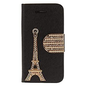 Diamond Eiffel Tower PU Full Body Case with Stand and Card Slot for iPhone 4/4S (Assorted Colors) --- COLOR:Black