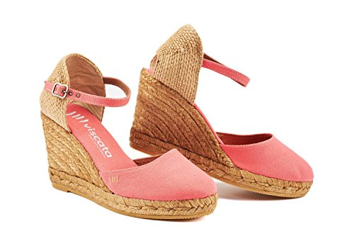 VISCATA Satuna Ankle-Strap, Closed Toe, Classic Espadrilles with 3-inch Heel Made in Spain Coral