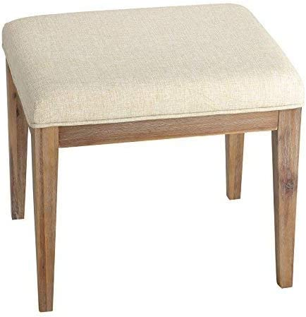 Cortesi Home Onel Neutral Linen Fabric Vanity Bench Ottoman, 20 , Beige