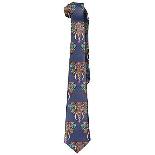 Elephant India Africa Animal Men's Tie Long Necktie Skinny Neckwear - India Tie