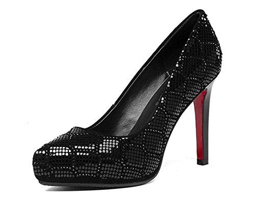Haute Fermé BLACK Pompes Stylet Suède Tribunal Nuit de Fête EUR38UK55 de Femmes Robe sur Caleçon Talon Chaussures Boîte Doigt Chaussure Pied NVXIE wqEIR5E