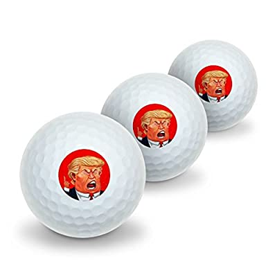 Angry Donald Trump Face Novelty Golf Balls 3 Pack