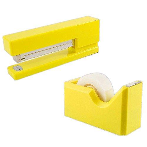 JAM Paper Office & Desk Sets - 1 Stapler & 1 Tape Dispenser - Yellow - 2/pack