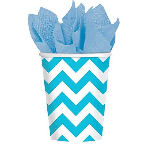 Caribbean 6 Piece - Amscan Party Supplies Caribbean Blue Chevron Paper Cups (6 Piece), Multi Color