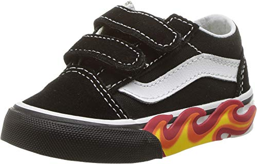 Vans Toddlers Old Skool V (5 M US Toddler, (Flame Cut Out) Black/White)