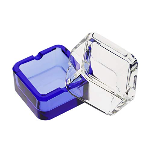 Tianyuan Smoker Glass Ashtrays Desktop Square Cigarette Ash Tray Set Of 2 Clear & Blue