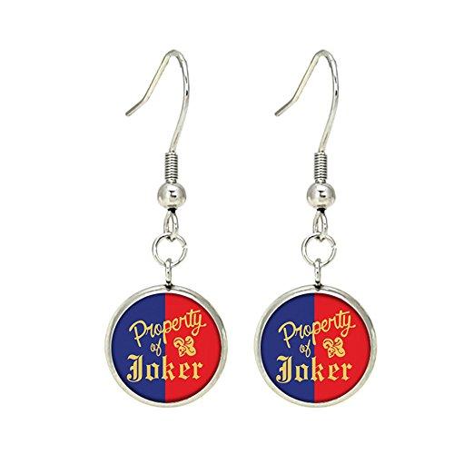 The Joker & Harley Quinn Dangle Earrings Premium Quality Silvertone DC Comics Movies Cartoons Superhero JLA Theme