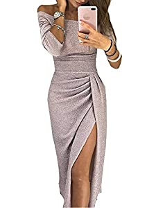 URMEI Women Evening Club Party Cocktail Shiny Slit Ruched Bodycon Off The Shoulder 3/4 Sleeve Long Maxi Dress