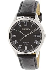 Seiko Black Dial Black Leather Mens Watch SGEG99 by Seiko Watches