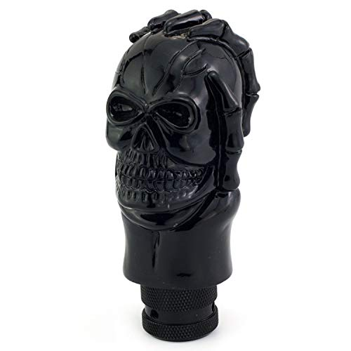 Skull Gear Shift - Thruifo Automatic Car Knob Shifter, Devil Skull Wand Head Style Manual Gear Stick Shift Knobs Fit Most MT Vehicles, Black