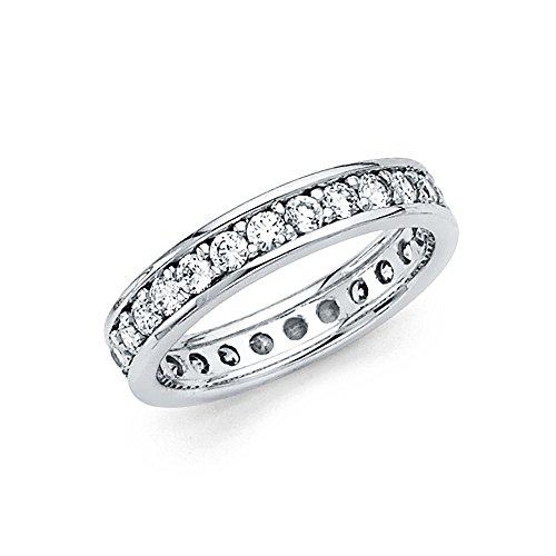 FB Jewels 14K White Gold Round Channel Cubic Zirconia CZ Channel Set Womens Eternity Anniversary Wedding Ring Band Size 8 ()