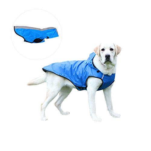 Kamots Beauty Dog Waterproof Raincoat, Lightweight Packable Jacket with Reflective Stripes for High Visibility Safety- Adjustable Hood Poncho for Small Medium Large Dogs (L-Blue)