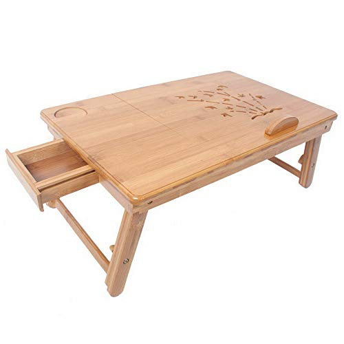Endicot Adjustable Bamboo Computer Desk with Drawer and Cup Stand Wood Color | Model DRSSR - 90