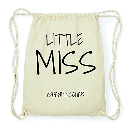 JOllify AFFENPINSCHER Hipster Turnbeutel Tasche Rucksack aus Baumwolle - Farbe: natur Design: Little Miss EdanKRadeX