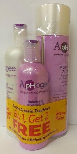 Aphogee Trio Two-step Protein Treatment 16oz + Balancing Moisturizer 8oz + Moisturizing Oil Sheen 12oz