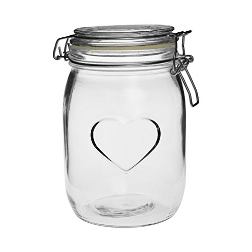 (Nicola Spring Heart Print Glass Storage/Food Preserve Jar (1000ml) )