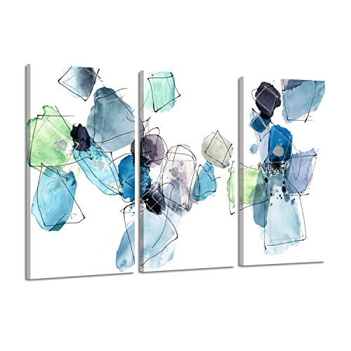 (Hardy Gallery Floral Abstract Artwork Canvas Paintings- Neutral Stacking with Splash Color in White, Green, Blue, Gray for Wall Decoration)