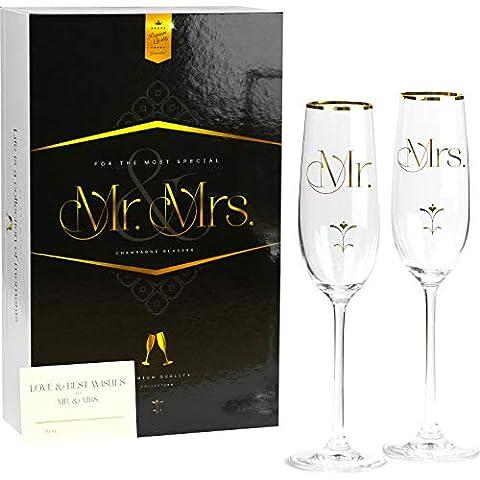 Luxury Crystal Wedding Champagne Glasses for Toasting | Gold Mr Mrs Toast Flutes Set for Bride and Groom | Elegant…