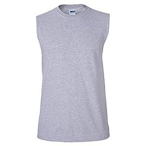 Gildan Men's Ultra Cotton Double Needle Sleeveless T-Shirt, Large, Sport Grey