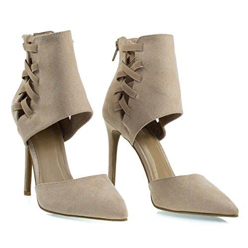 Elastic Toe Ankle Strap Dress w DOrsay Pointed Pump Cut Height Cuff w Nude 8xZ6nU