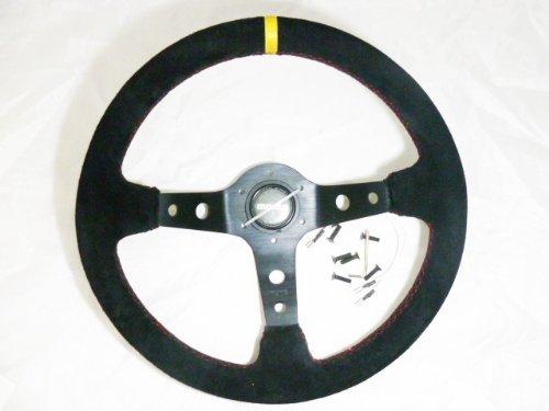 350mm Suede Momo Racing Steering Wheel Globe