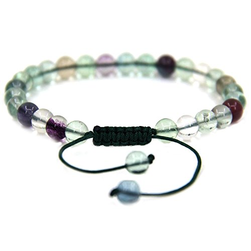 Fluorite Green Bracelet - Amandastone Natural AA Grade Clear Green Fluorite Gemstone 6mm Round Beads Adjustable Bracelet 7