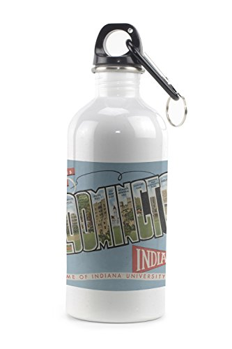 Bloomington, Indiana - Indiana University - Large Letter Scenes - Vintage Halftone (20oz Stainless Steel Water Bottle w/ Carabiner)