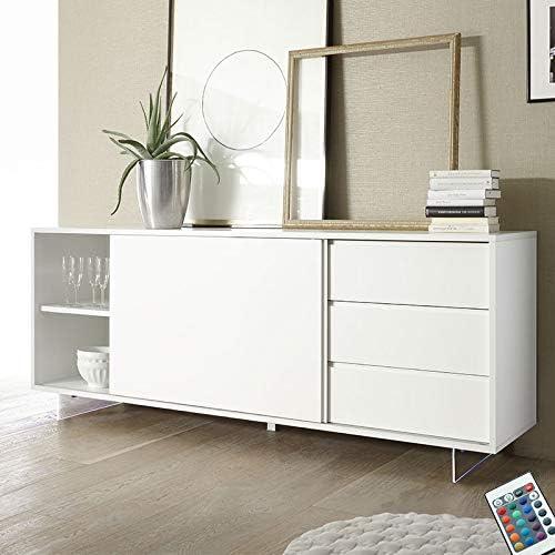 M-012 aparador Puerta corredera Color Blanco Lacado Design Palazio 2: Amazon.es: Hogar