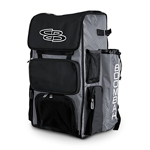 Boombah Superpack Bat Pack -Backpack Version (no Wheels) - Holds up to 4 Bats - Gray/Black - for Baseball or Softball ()
