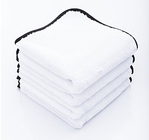 THE RAG COMPANY (4-Pack) 16 in. x 16 in. EVEREST 550 White Super-Plush Professional Korean 70/30 Microfiber Detailing Towels (16x16 550gsm)