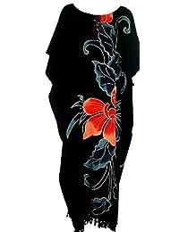 Cool Kaftans New Amazing Black ORCHID Flower Kaftan Dress Floral Butter Soft Fabric