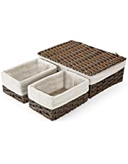 SAWAKE Imitation Wicker Storage Baskets with Lid and Handles, Woven Shelf Baskets Set for Storage Organizing with removable lining, Handmade Storage Bins for Bedroom Shelf Closet (Set of 3, Brown)
