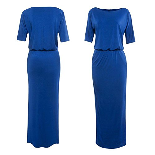 Robes Bleu t Lache Femmes Europen Robe Manches Poche Unie Couleur Mode Courtes Split d't Longue Demiawaking C w17aq7