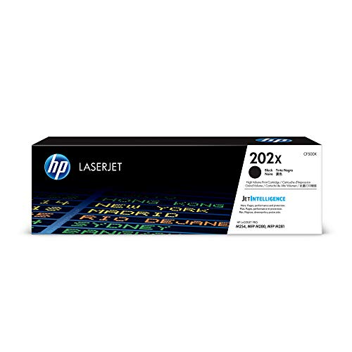 HP 202X (CF500X) Black High Yield Toner Cartridge for HP LaserJet Pro M254 M281cdw M281dw (Best Soho Laser Printer)