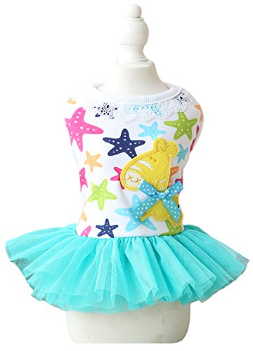 Puss In Boots Cat Costume (MaruPet Fashion Sweet Puppy Dog Stars Printed Merry-Go-Round with Bowknit Princess Skirt Pet Dog Lace Cake Camisole Tutu Dress Lake Green XL)