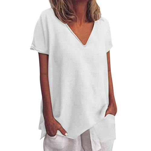 Tantisy ♣↭♣ Womens Tops Summer V-Neck Short Sleeve Solid Tee Fashion Swing Casual Flowy Loose Blouses ()