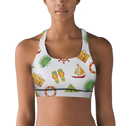 Armsttm Women Racerback Sports Bras White Summer Holiday Beach Party Gym Yoga Bra with Removable -