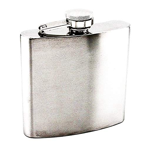 ZhengNongShangMao 6oz Steel Stainless Hip Flask Silver Free Funnel Liquor Drinking of Alcohol Whiskey Gift for Men(Silver) Baseball 6 Ounce Flask