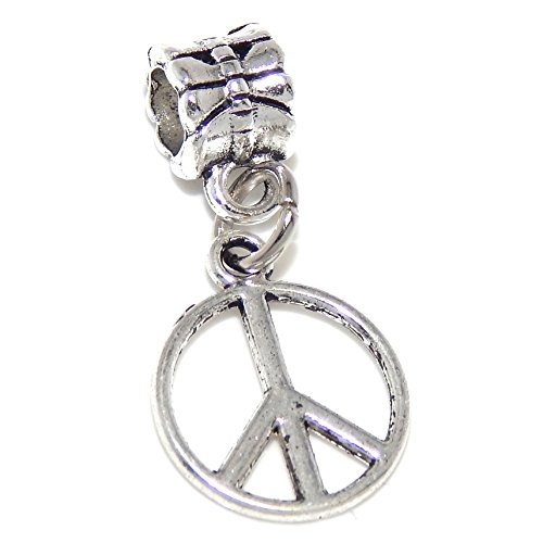 Silver Plated Dangling Peace Symbol