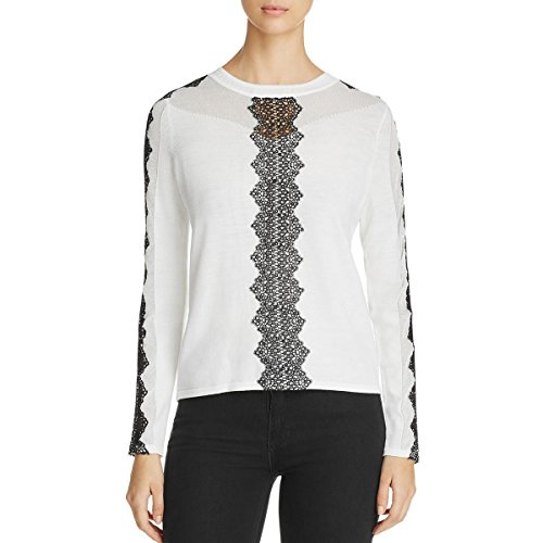 Elie Tahari Womens Merino Wool Lace Detail Sweater Black-Ivory S (Lace Wool Sweater)