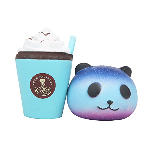 TEEGOMO Soft cute Panda and Coffee Cup Slow Rising Scented Jumbo Squishy Stress Relief Squeeze Decorations Kids Toy