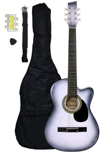 38-Inch Beginner Acoustic Guitar Starter Pack with Gig Bag, Strap, Pitch Pipe, and Pick - White Cutaway