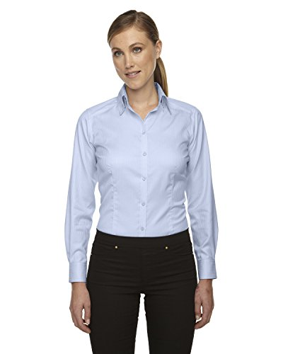 (North End Ladies Wrinkle Free Striped Dress Shirt. 78646 - Large - Cool Blue)