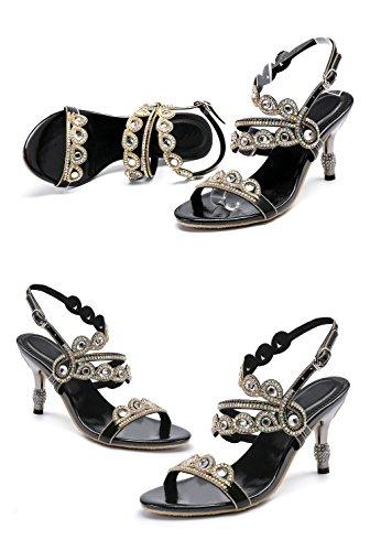 Stöckel Sandalen Kunstleder Absatz Strass Schuhe Frauen Slingpumps Fashion Honeystore Schwarz Sandalette Neuheiten mit UXwqUF5