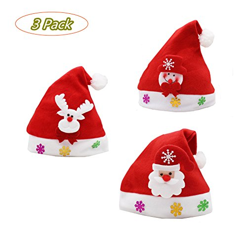 Mrs Claus Costume Images (Daixers 3 Pack Childrens Kids Christmas Hat For Celebrations and Recreation)