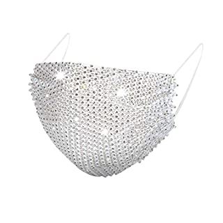 Crystal Rhinestone Mesh Covering Halloween Sparkly Ball Party Nightclub Face Mesh Bling Sequin Rave Party Face Covering for Women and Girls