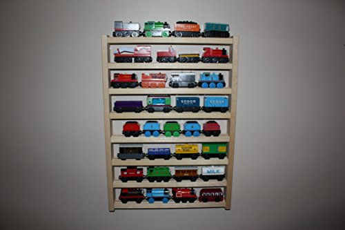 (Train Rack Tall - Thomas Train Wooden Storage Display Wall Rack Shelf Play Table Accessory Case for Brio Chuggington Melissa and Doug)