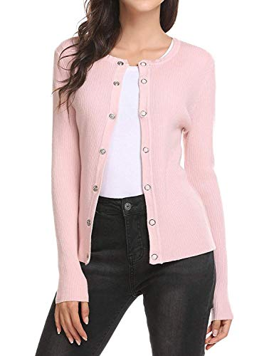 Breasted Cappotto Rosa Giacche Outerwear Unique Elegante Slim Casual Primaverile Giacca Maglioni A Stlie Maglia Autunno Lunghe Donna Single Knit Moda Maniche Fit Monocromo qSw4gw0