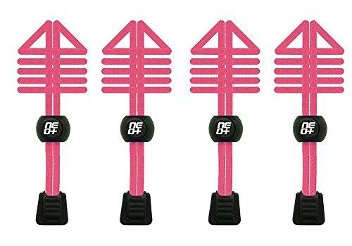 Paquetes de cordones de zapatos elásticos, con bloqueo, para correr y triatlón, color negro, talla Talla única 2 SETS NEON PINK